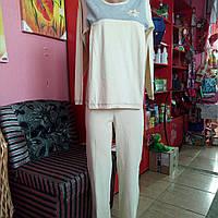 Пижама 49161 коттон подходит для кормящих мамочек светлый беж 48 -50р