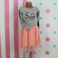 Детское трикотажное платье для девочки размер 128 см