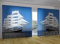 """Панорамная фото штора """"Белый парусник"""" 270 х 500 см"""