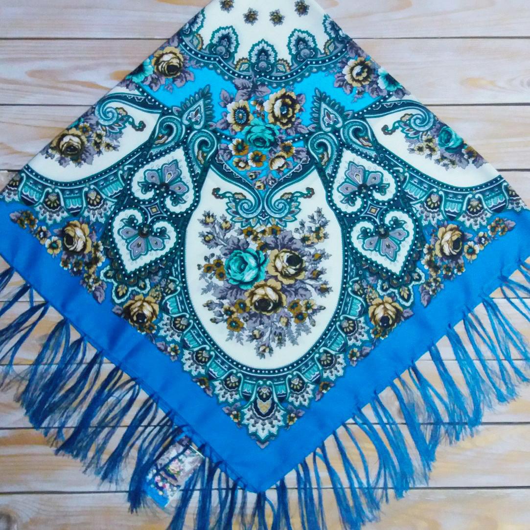 Женский платок бирюзового цвета (120х120см, 80%-шерсть)