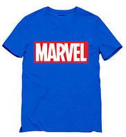 Футболка Marvel синяя с логотипом, унисекс (мужская,женская,детская)
