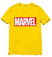Футболка Marvel желтая с логотипом, унисекс (мужская, женская, детская)