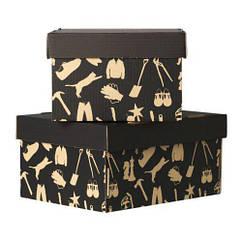 Коробка с крышкой IKEA HÅBOL 2 шт 37x28x18 см черный 301.155.99