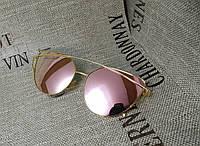 Солнцезащитные зеркальные розовые очки