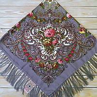 Женский платок с цветами(120х120см, 80%-шерсть)  , фото 1
