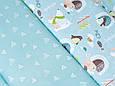Сатин (хлопковая ткань) на зеленом фоне пингвины и умка (50*160), фото 2