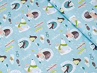 Сатин (хлопковая ткань) на зеленом фоне пингвины и умка