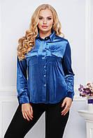 Женская батальная  рубашка королевский бархат(3расцв.), фото 1