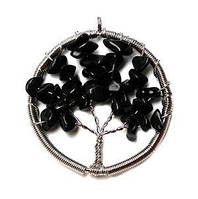 Подвеска древо жизни черный агат