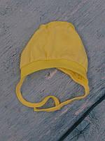 Чепчик с завязками, (желтый, интерлок)