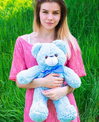 """Плюшевый мишка """"Рафаэль"""", голубой, 50 см."""