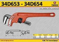 "Ключ трубный Stillson изогнутый 14"", L-350мм., Ra80/2.0, m=1.3kg.,  TOPEX  34D654"