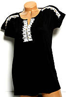 Блуза женская черная хлопок органика Турция №3 размер 48,50,52