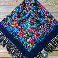 Женский темно-синий платок с цветами(140х140 см, синий, 80%-шерсть)