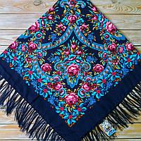 Женский темно-синий платок с цветами(140х140 см, синий, 80%-шерсть) , фото 1