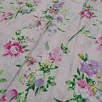 Тик наперниковый Лилия на розовом (синтетический, но хорошый)