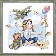 """Набор для вышивки крестиком Чарівна Мить М-253 """"Юный летчик"""""""