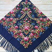 Темно-синий платок с цветами для девушек (140х140 см, синий, 80%-шерсть)
