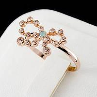 Кольцо с кристаллами Сваровски, покрытое золотом 0763 16,5 Янтарный