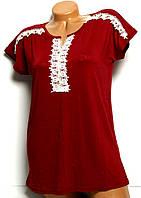 Блуза женская бордо хлопок органика Турция №4 размер 48,50,52,54