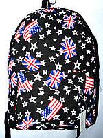 Женский черный рюкзак из текстиля Англия 30*42 см, фото 1
