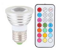 16-ти цветная 5W LED лампа освещения с пультом ДУ (модель E-27-5W)