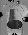 Колено регулируемое 0-90° Ф150 нерж.