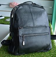 Женские кожаный рюкзак черный