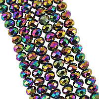Бусины под Хрусталь Радужные зеркальные металлик Рондель 8 мм 72 шт/нить