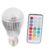 16-ти цветная 9W LED лампочка с пультом дистанционного управления (мод. E-27-9W)