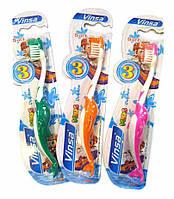 """Зубная щетка детская """"Дельфин"""" нейлон +пластик 4 цвета"""