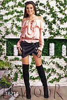 Чудесная льняная блуза на лямках с оборкой