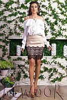 Льняная тонкая блуза на лямках Белый, Размер 44 (M)