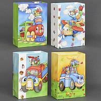 """Подарочный пакет """"3D"""" МАЛЫЙ 555-760 (600) с блёстками, 4 вида """"ТРАНСПОРТ"""""""