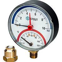 Термоманометр Watts TMAX (80 mm 0-4 bar, 120°С) радиальный, фото 1