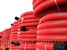 Двустенная гибкая гофрированная труба из полиэтилена, цвет красный, d160, с протяжкой DKC бухта 50м, фото 2