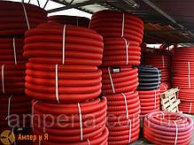 Двустенная гибкая гофрированная труба из полиэтилена, цвет красный, d160, с протяжкой DKC бухта 50м, фото 3