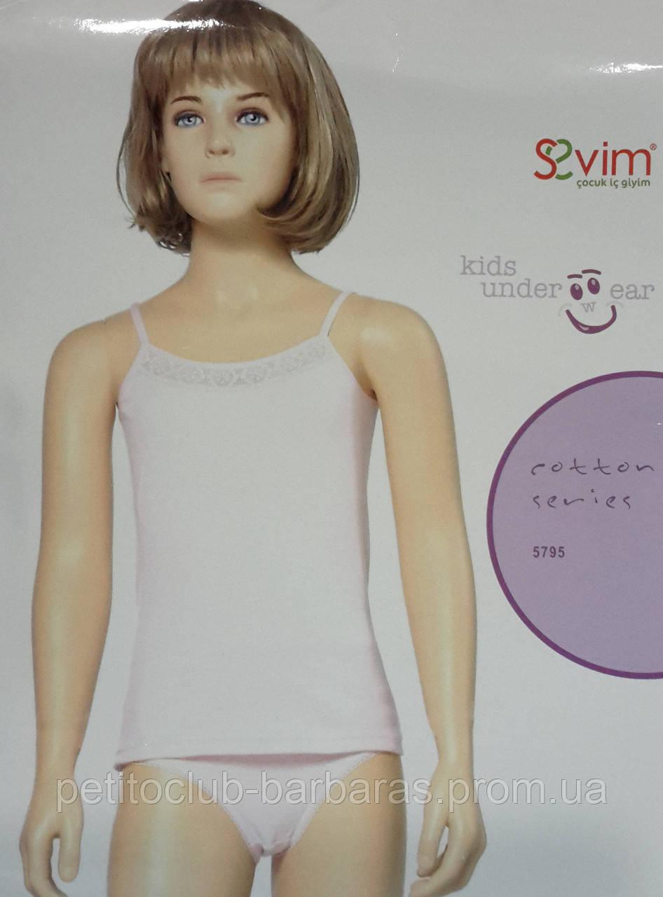 Майка на тонких бретелях белая для девочки (Sevim, Турция)