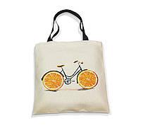 """Эко-сумка с черной ручкой """"Велик-апельсин"""", фото 1"""