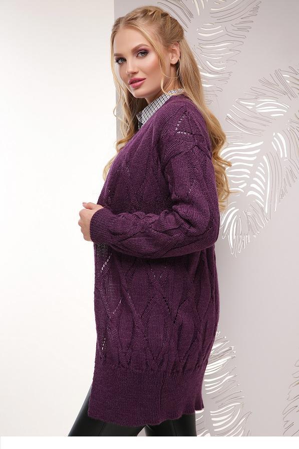 Яркий вязаный кардиган Аурелия фиолетовый (50-56)