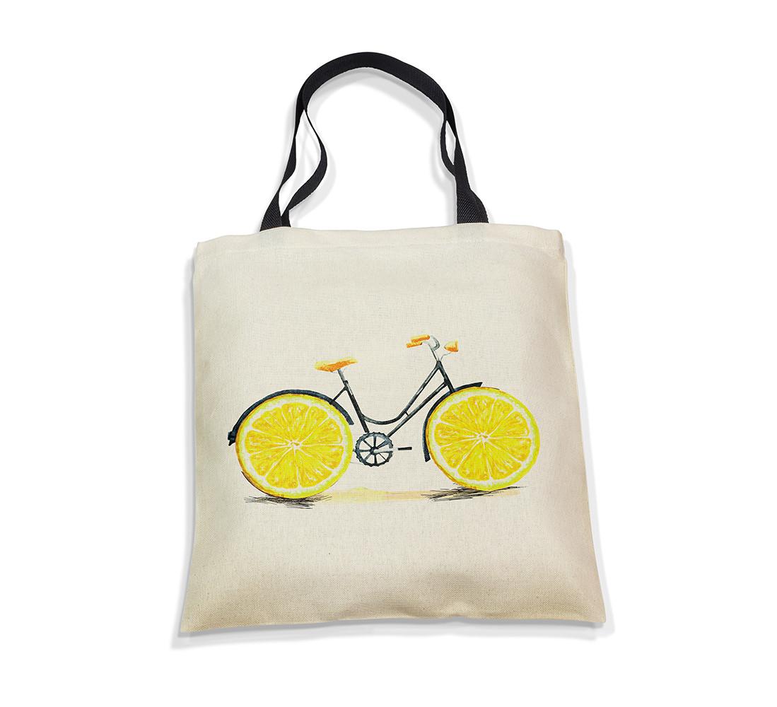 """Эко-сумка с черной ручкой """"Велик-лимон"""", фото 1"""