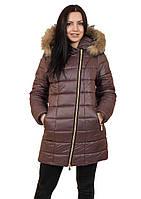 Куртка женская Наоми длинная (шоколад)