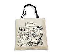"""Эко-сумка с черной ручкой """"Я люблю котов"""", фото 1"""