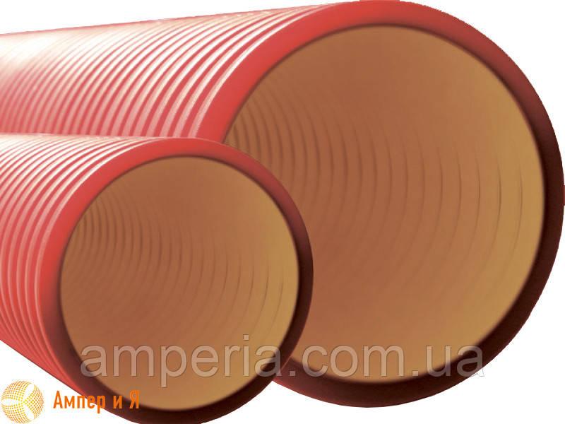 Усиленная жесткая двустенная гофрированная труба из полиэтилена, цвет красный, d125, с муфтой DKC 6м