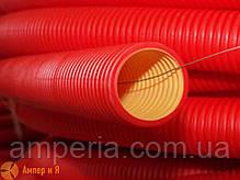 Усиленная жесткая двустенная гофрированная труба из полиэтилена, цвет красный, d125, с муфтой DKC 6м, фото 2