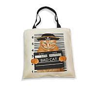 """Эко-сумка с черной ручкой """"Bad cat"""", фото 1"""
