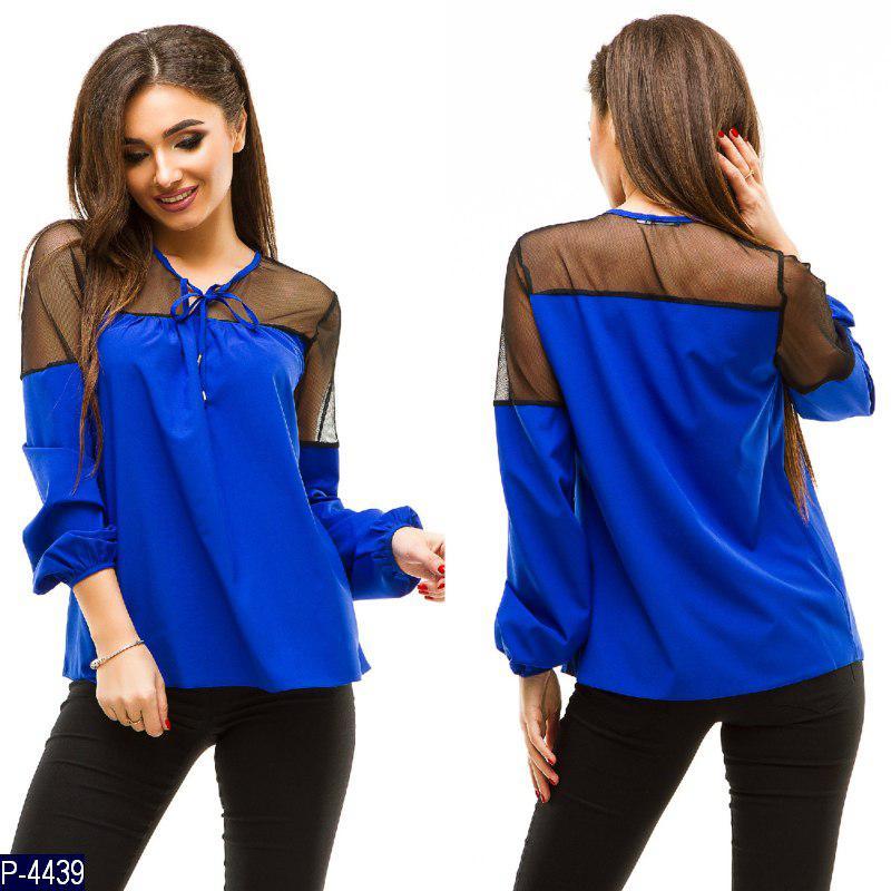 Красивая нарядная блузка на длинный рукав с сеточкой - Интернет-магазин