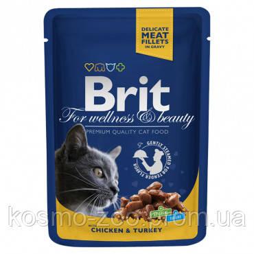 Влажный корм Брит Премиум (Brit Premium), Курица и индейка для взрослых кошек, 100 гр. 24 шт/уп.