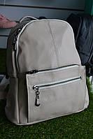 Женские кожаный рюкзак бежевый, фото 1