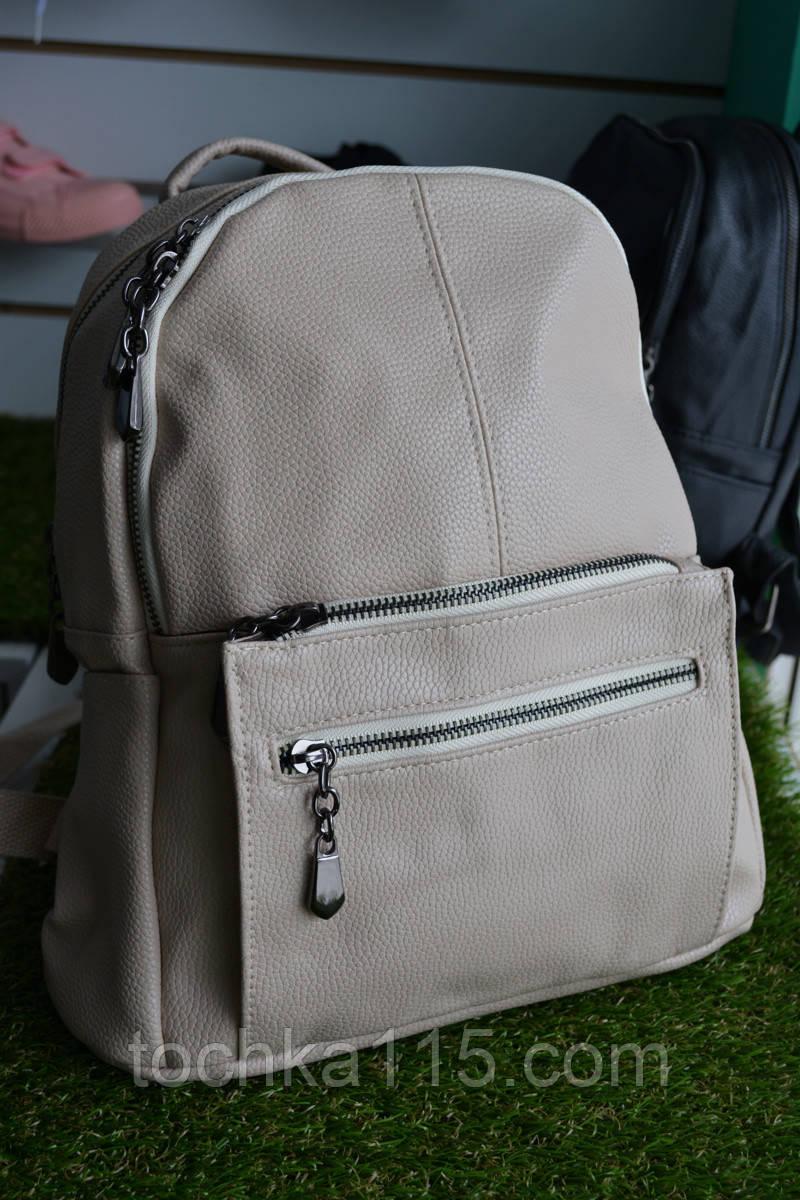 Женские кожаный рюкзак бежевый